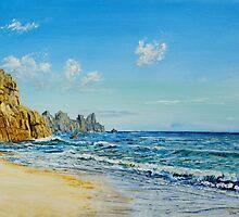 Porthcurno Beach, Cornwall. by Joe Trodden