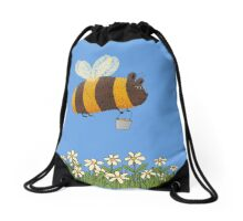 Bumble Bear with honey flies home Drawstring Bag
