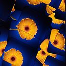Yellow Gerbera On Blue iPad Case by Ra12