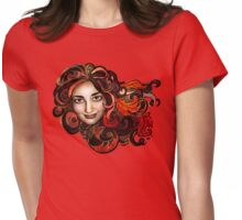 Red Golden Trimmed Maple Amy Womens Fitted T-Shirt
