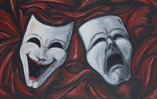 Drama Masks in Oil by gotmeamuse