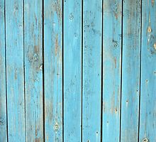 Old wooden planks with a shabby blue paint by vladromensky