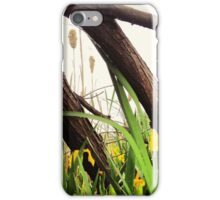 Yellow Wildflowers with Cattails Under Gray Skies iPhone Case/Skin