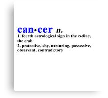 Zodiac Definitions: Cancer Canvas Print