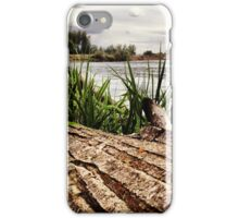 Driftwood Along the Riverbank Beneath Gray Skies iPhone Case/Skin