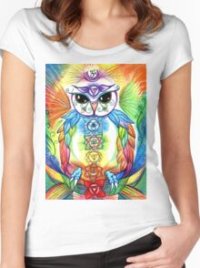 Chakra Owl by Sheridon Rayment Women's Fitted Scoop T-Shirt