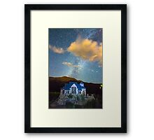 Magical Chapel On The Rock Milky Way Sky Framed Print
