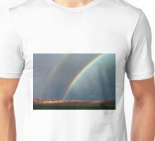 Double Rainbow And Lightning       Signed Unisex T-Shirt
