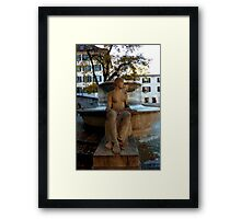 LADY BY FOUNTAIN Framed Print