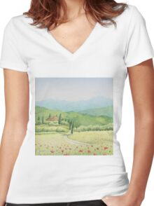 Tuscan Vineyard, Tuscany, Italy Women's Fitted V-Neck T-Shirt