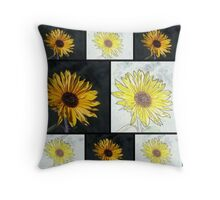 Sunflower Photo and Colored Pencil Collage Throw Pillow