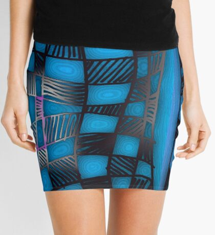 Twisted Checkers in Blue Mini Skirt