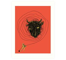 Theseus, the Minotaur, and the Thread Maze Art Print