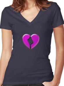 zip your heart Women's Fitted V-Neck T-Shirt