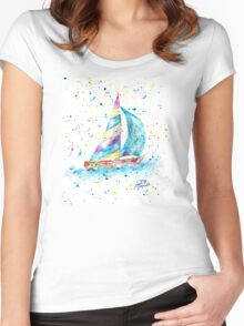 Sailboat by Jan Marvin Women's Fitted Scoop T-Shirt