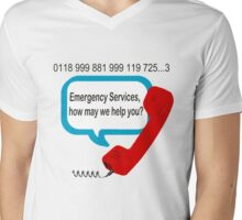 0118 999 881 999 119 7253 IT Crowd Emergency Services Mens V-Neck T-Shirt