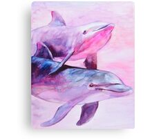 Dolphins pair Canvas Print