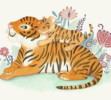 Tiger and little cub by kimfleming