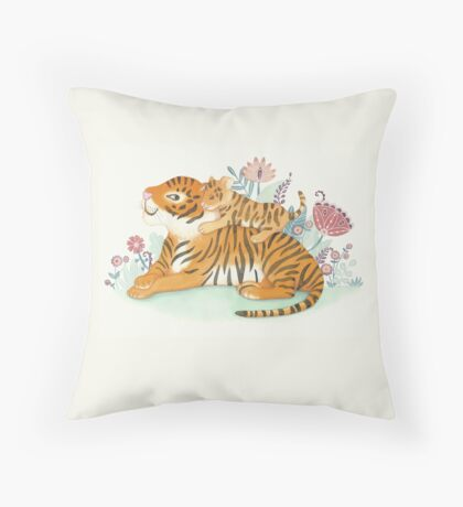Tiger and little cub Throw Pillow