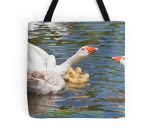 Protection: Adult geese protest young goslings Tote Bag
