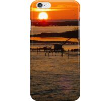 Chinese Fishing Nets at Sunset in  Cochin, India iPhone Case/Skin
