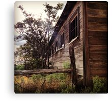 Distressed Barn with Barbwire Windows Canvas Print