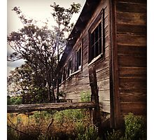 Distressed Barn with Barbwire Windows Photographic Print