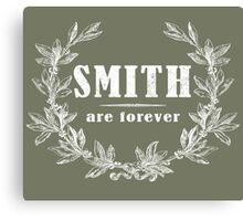 SURNAME - SMITH on BLACK Canvas Print