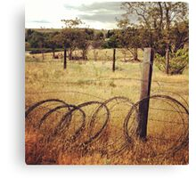 Barbwire Fence Line Outlining Fields of Gold Canvas Print
