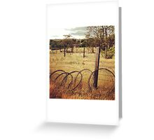 Barbwire Fence Line Outlining Fields of Gold Greeting Card