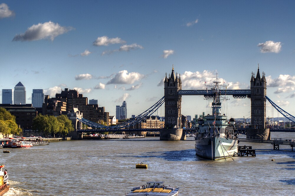 Canary Wharf Tower Bridge and HMS Belfast by Chris Day