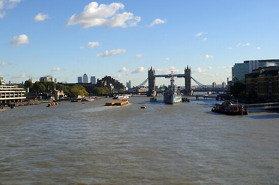 Canary Wharf Tower Bridge and HMS Belfast 2 by Chris Day