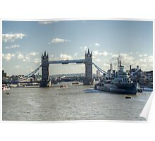 Canary Wharf Tower Bridge and HMS Belfast 3 Poster