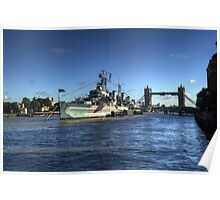 HMS Belfast and Tower Bridge Poster