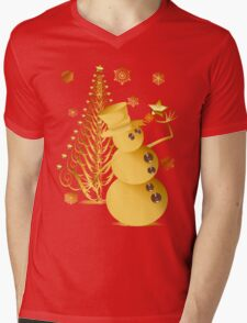 Gold Christmas Snowman and Star Tree T-Shirt