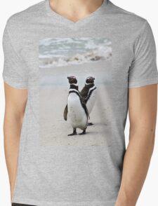 Magellanic Penguins Strolling on the Beach  Mens V-Neck T-Shirt