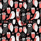 pattern different owls by Tanor