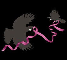 Flying Tui with Pink Ribbon by iskamontero