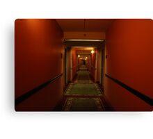11:13pm.  red hallway. green hotel. Canvas Print