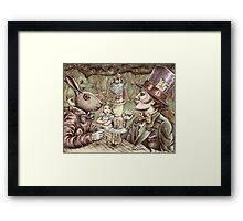 alice at the mad tea party Framed Print