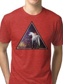 Galaxy unicorn triangle Tri-blend T-Shirt