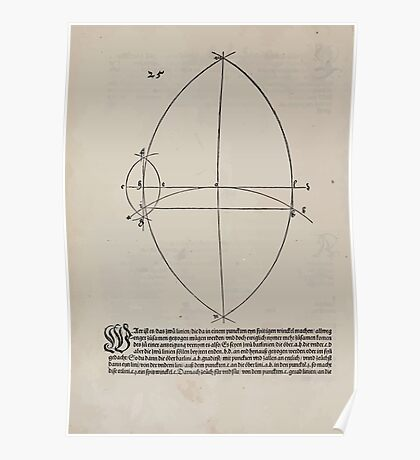Measurement With Compass Line Leveling Albrecht Dürer or Durer 1525 0028 Mixed Curves Poster