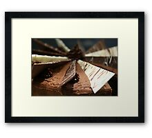 Delicious, gooey, tempting chocolate cake Framed Print