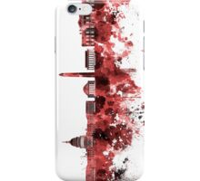 Washington DC skyline in watercolor on red background  iPhone Case/Skin