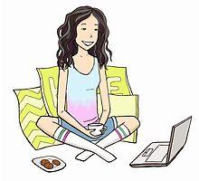 Girl with the laptop by Oksana Bashchak