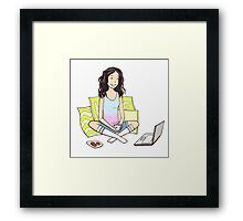 Girl with the laptop Framed Print