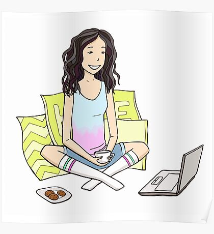 Girl with the laptop Poster