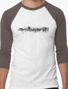 London skyline in black watercolor on white background Men's Baseball ¾ T-Shirt