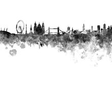 London skyline in black watercolor on white background by paulrommer
