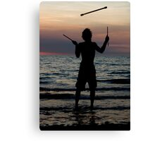 Mindil market entertainment - fire stick silhouette Canvas Print